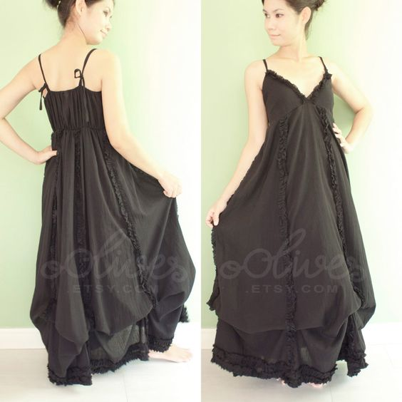 Romantic Maxi Baby Doll Dress in Black, Cotton Fabric, Tie Shoulder Straps via Etsy.