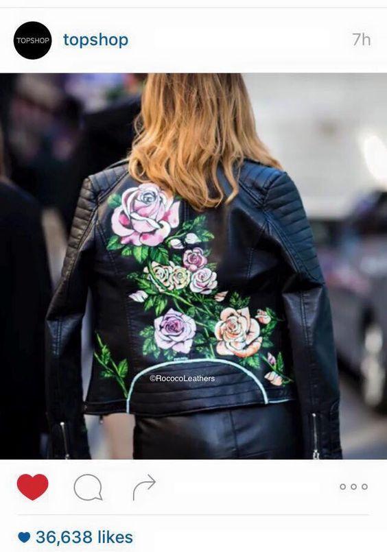 LCM street style spotted full floral painted biker   #handpainted #bespokejacket #leatherjacket #handpaintedleather #leather #rococo #rococoleathers #painting #topshop