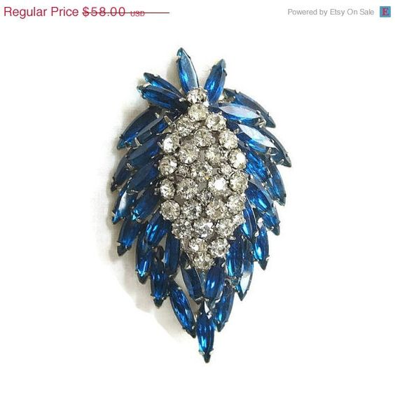 Vintage Verified JULIANA Caribbean Blue & Clear Rhinestones High Domed Leaf Brooch or Pin #Blue #Leaf $51.04