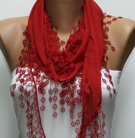 Red Scarf Necklace Cowl with Lace Edge by fatwoman, $15.00