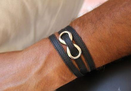 bracelet cuir pour homme ,avec motif infini stylisé  plusieurs coloris  : Bijoux pour hommes par made-with-love-in-aiacciu