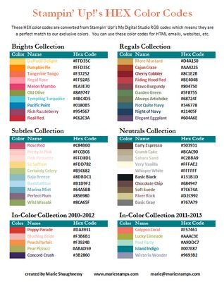 Stampin' Up HEX Color Codes