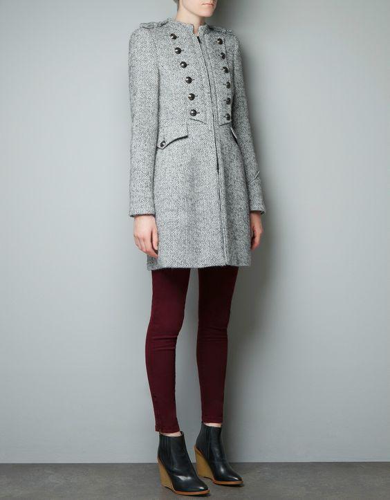 Womens Grey Military Coat