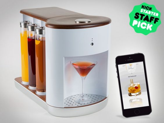"This intelligent, automated bartending appliance lets you ""order"" your drink right from an app, thoroughly mixing each drink before dispensing it right into the glass. It uses dishwasher-friendly reusable pods to hold ingredients, flushes water through the system after every drink to ensure your cocktail is pure, can infuse bitters directly into drinks, and sports a handsome design looks great in any kitchen or home bar."