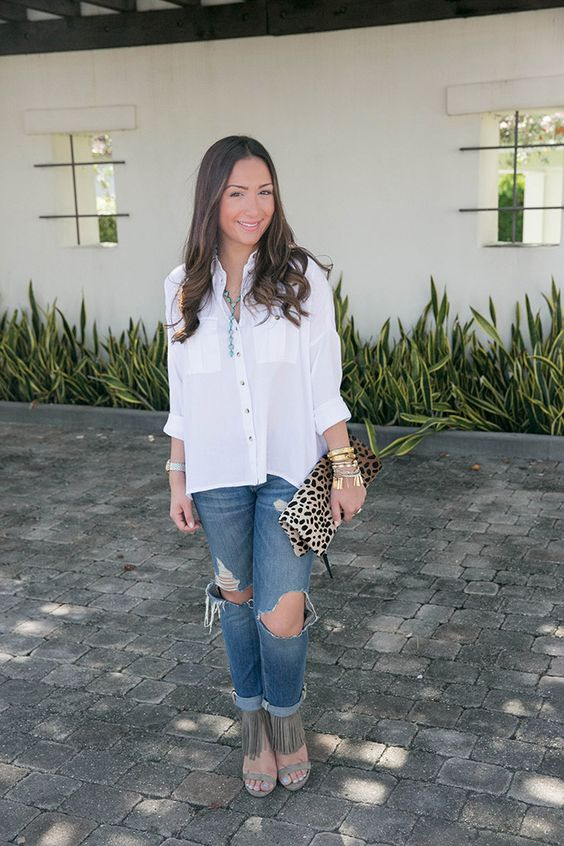 Dress up your denim with some fringe and leopard