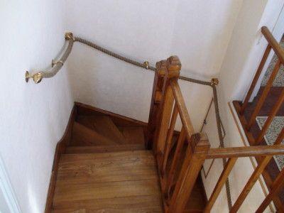 Tr s belle main courante corde rampe d 39 escalier houl s - Poser une main courante ...