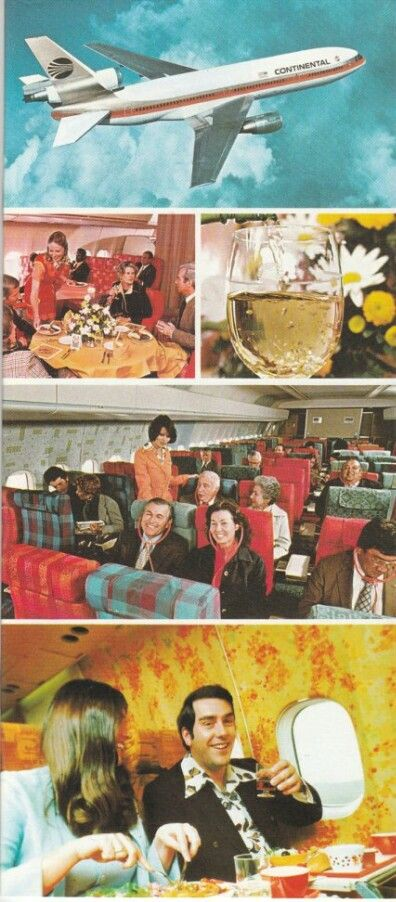 Continental Airlines DC-10 Inflight Service - look at the colors in THAT airplane!!!  OMG flowers!!