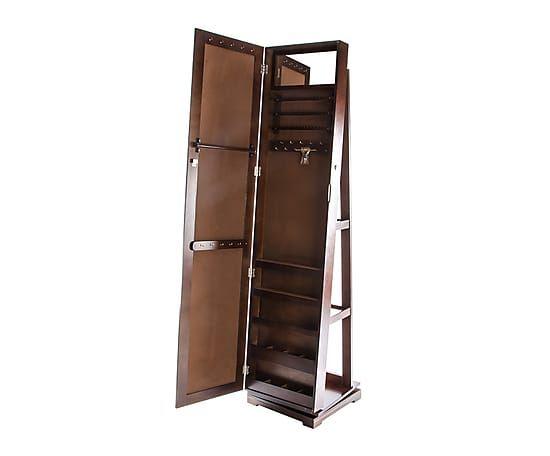 Espejo de pie con joyero enmarcado de madera dm 40x168 for Espejo de pie
