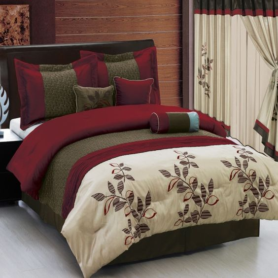 Pasadena Burgundy 11-Piece Bed in a Bag - Matching curtains also ...