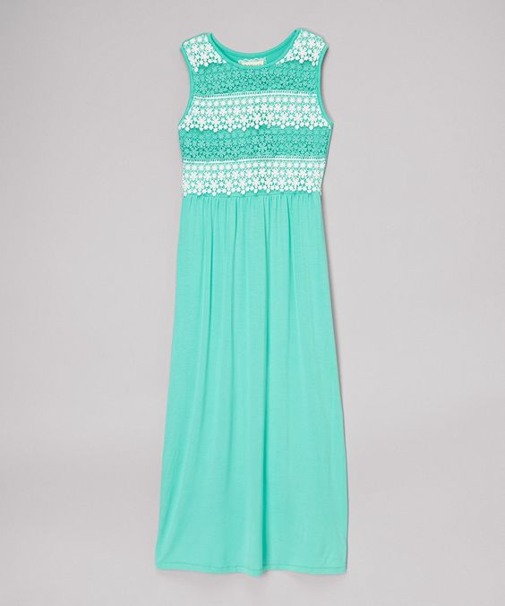Loving this Mint Lace Maxi Dress - Girls on #zulily! #zulilyfinds