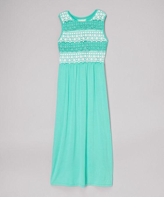 Loving this Mint Lace Maxi Dress - Girls on #zulily! #zulilyfinds