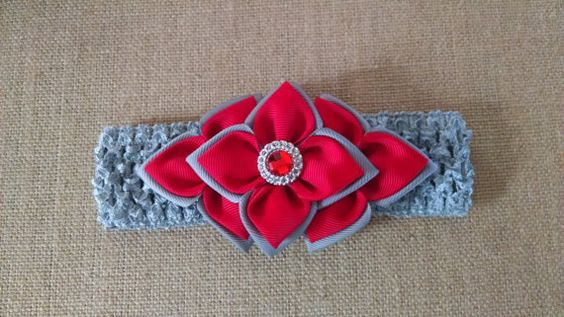 Kanzashi Headband Rhinestone Headband Red by GloriaMillerCreation