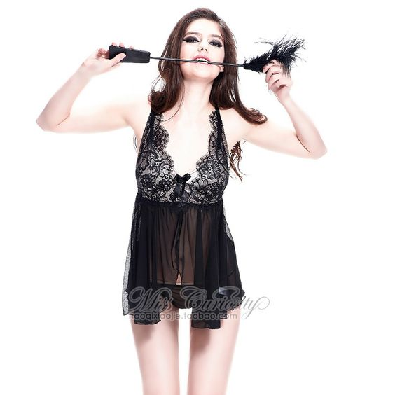 Sassy and marvelous Sora Black Lace Sheer Sleeping Chemise Babydoll. Find at Boubey! #loungewear #babydoll #lace #sexy #black #ladies