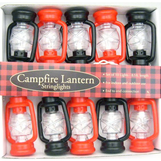 Old-Fashioned Black & Red Hurricane Lantern String Lights