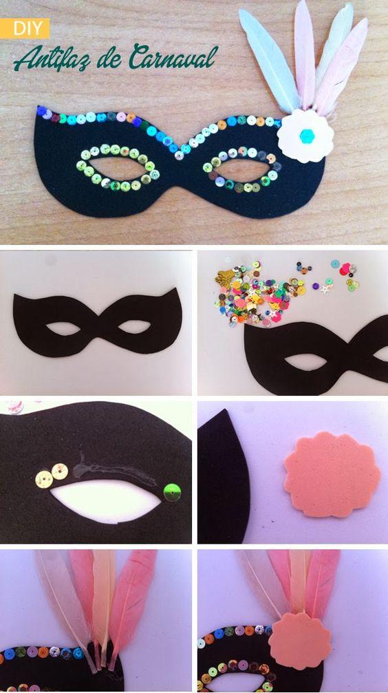 DIY Carnival mask. Antifaz de carnaval http://manualidades.euroresidentes.com/2014/02/como-hacer-un-antifaz-veneciano-para.html