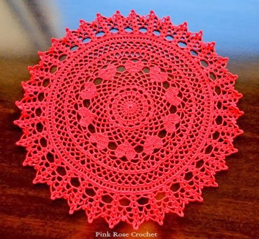 PINK ROSE CROCHET: Valentine Ring of Hearts Doily