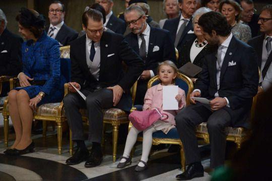 Queen Silvia, Prince Daniel, Princess Estelle and Prince Carl Philip at the Te Deum (03/03/16)