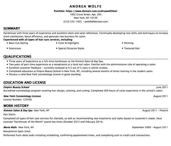 Resume Template For BabySitter - http\/\/exampleresumecvorg\/resume - hair dresser resume