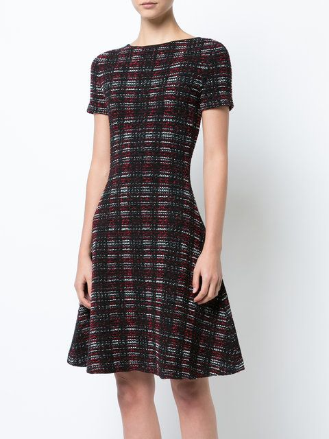 Carolina Herrera plaid knitted flared dress