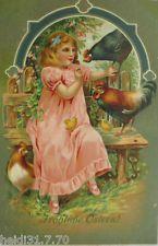 """""""Ostern, Kinder, Huhn, Küken"""" 1911, Prägekarte ♥  (7552)"""