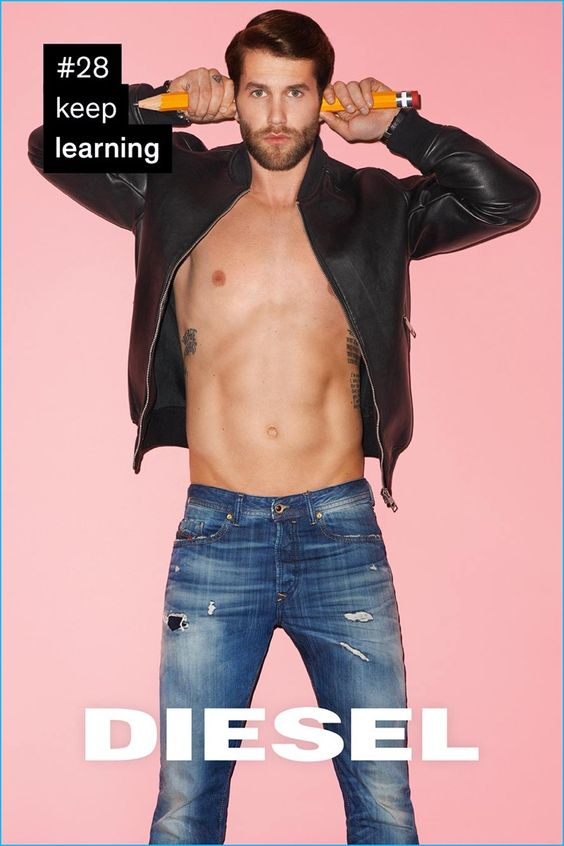 Model André Hamann poses for Diesel's Rules for Successful Living project.