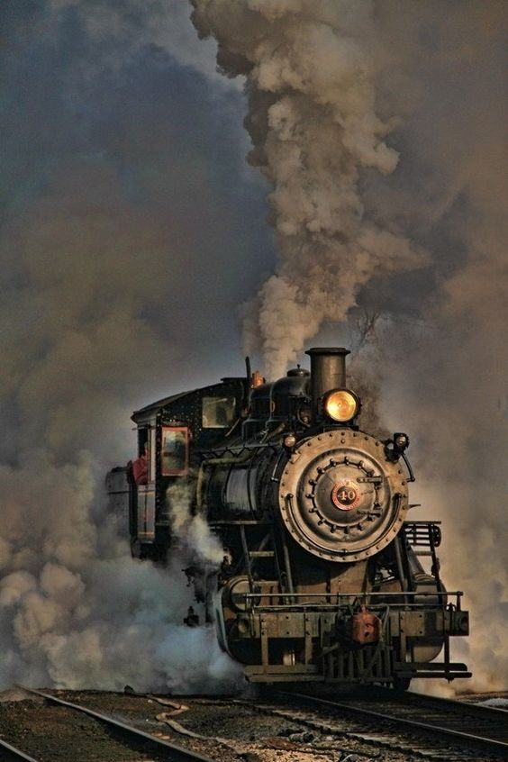 Vintage Steam Engine Photograph, Monochrome Photography, Gray, Train Art, Home…                                                                                                                                                     More:
