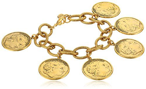 Yochi Gold Plated Alexander Multi-Coin Bracelet. Alexander coins with designs on both side. 14k Gold Plated. Length is 7.5 inches. Domestic.