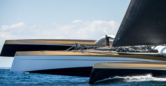The huge Spindrift 2 trimaran (ex-Banque Pop 5), with crew to give scale!