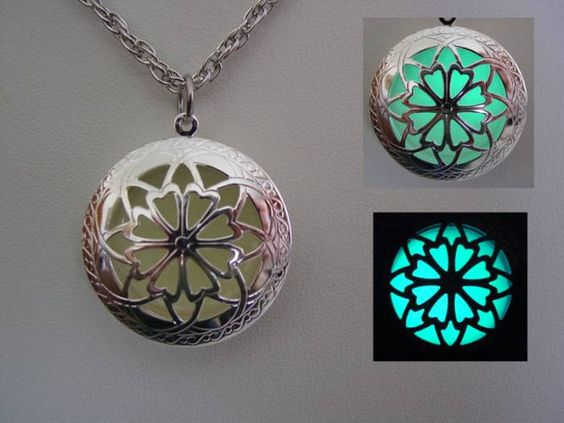 Glow In The Dark Silver Open Petal Flower Necklace ~ Locket Bright Aqua Glow