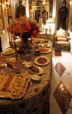 Upper East Side Christmas party buffet table.