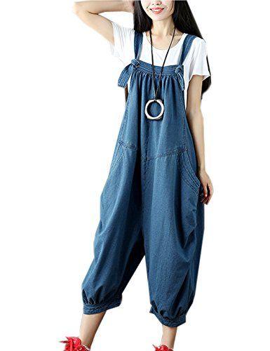 IDEALSANXUN Women/'s Loose Casual Cotton Bib Overall Harem Pant