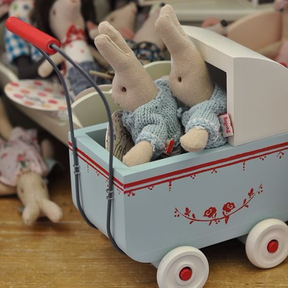 Twins in their pram! These bunnies are ready to ride right into your home and heart. Each Maileg has a personality! Wooden Pram and dolls sold at The Children's Hour Bookstore in Salt Lake City.  898 South 900 East.  We ship! 801.359.4150.  #thechildrenshour