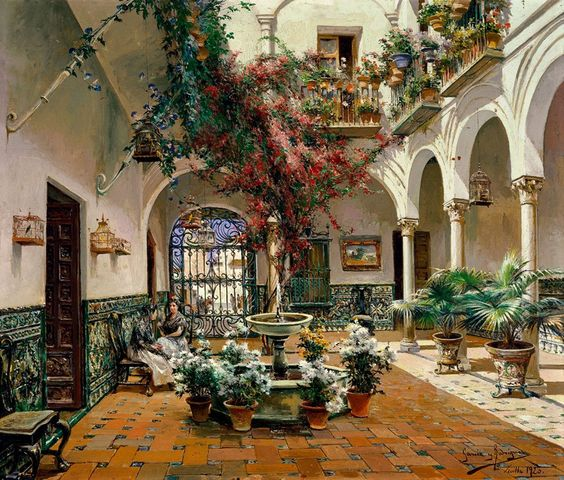 Painting by Manuel_García_Rodríguez_Inside_Courtyard,_Seville  Spain
