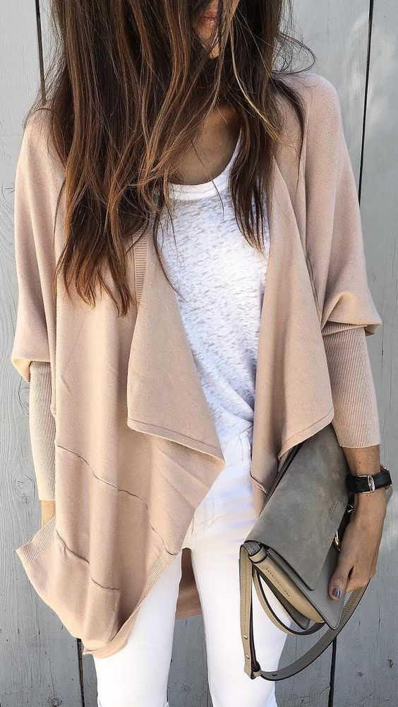 #winter #fashion /  Beige Cardigan / White Tee / White Skinny Jeans / Green Shoulder Bag