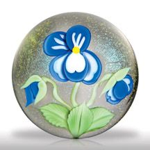 Orient & Flume Art Glass (1990) pansy and buds paperweight, by Greg Held.