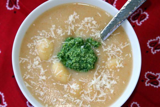 Gnocchi and Pesto Soup