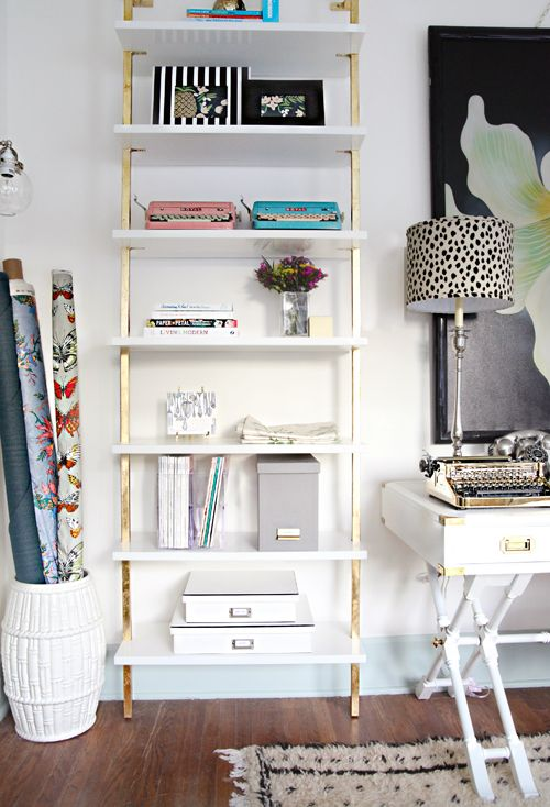 Stairway White Wall Mounted Bookcase with DIY gold foil via @iheartorganizing. www.iheartorganizing.blogspot.com: