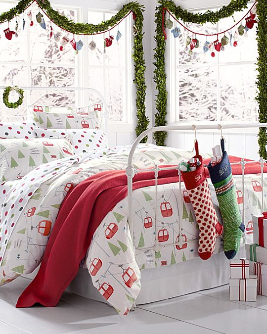 Ski Slope Flannel Bedding Holiday Bed
