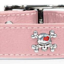 Pink leather skull collar. I want this for Sophie