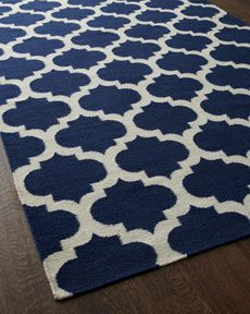 """Panthea"" Navy Moroccan Tile Rug - Horchow"