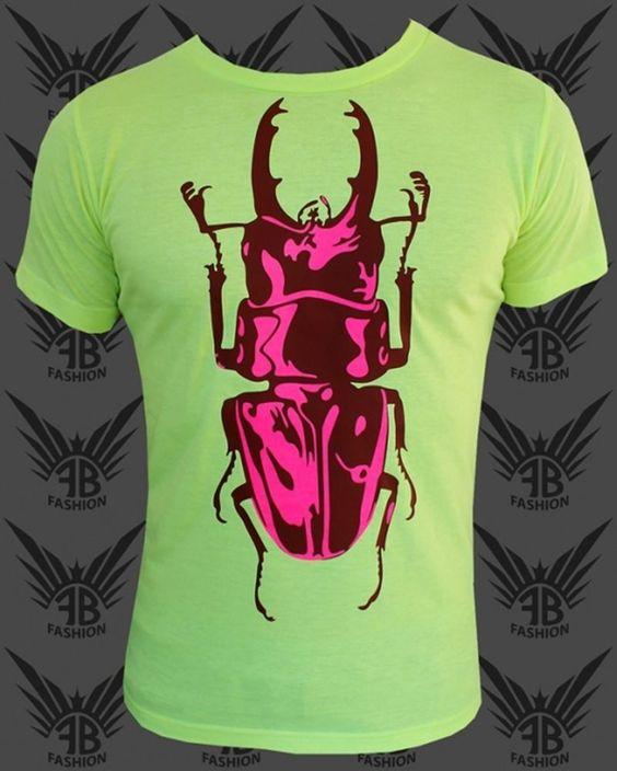 FancyBeast Neon Herren T-Shirt in Neongelb im Käfer Look Partystyle