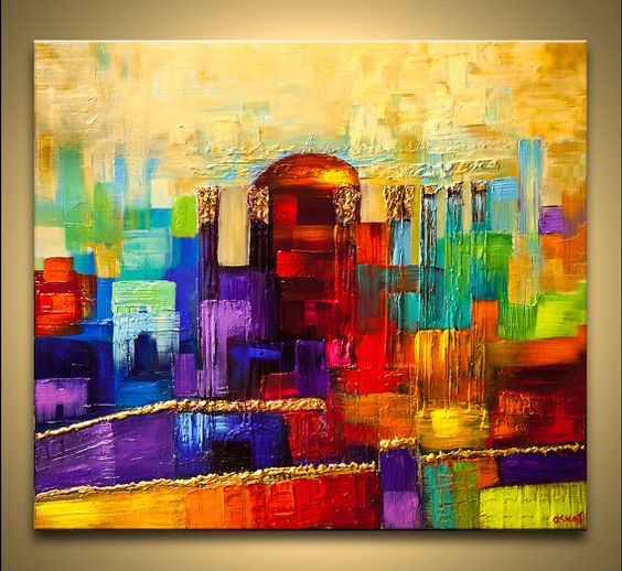 Jerusalem abstract painting colorful scenic painting original modern acrylic palette knife - Peinture abstraite coloree ...