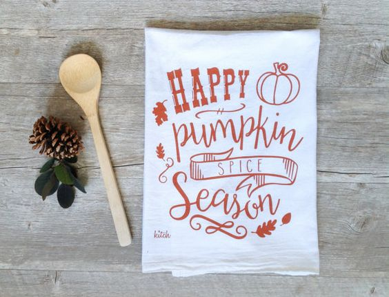 Pumpkin Spice Tea Towel // Kitch Studios                                                                                                                                                     More: