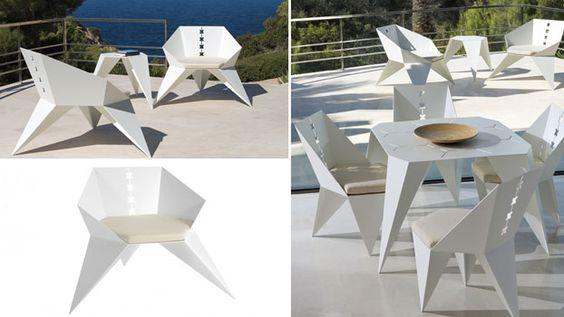 4 sedie da giardino bianche per arredo esterno
