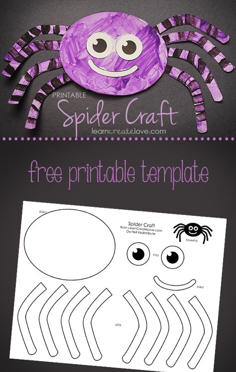 photograph relating to Halloween Crafts for Kids+free Printable named Printable Spider Craft Boy or girl Blogger Community Actions