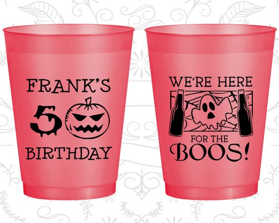 50th Birthday Frosted Cups, Pumpkin Birthday, Halloween Birthday, Ghost Birthday, Frosted Birthday Cups (20292)