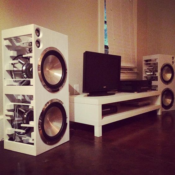 Two fountek fr58ex and four 12 aluminum cone woofers in for 12 floor speaker