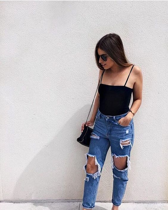 Look perfeito calça jeans destroyed