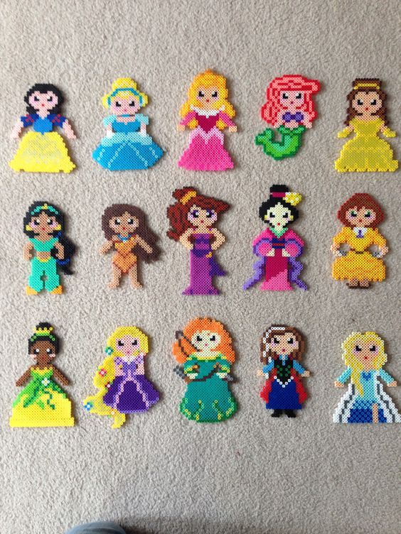 Princess set perler beads by Amy Castro - Snow White, Cinderella, Aurora, Ariel, Belle, Jasmine, Pocahontas, Meg, Mulan, Jane, Tiana, Rapunzel, Merida, Anna and Elsa