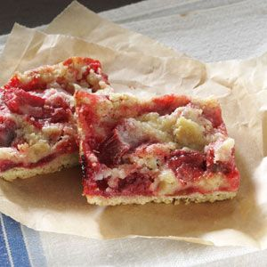 Gluten-Free Rhubarb and Strawberry Bars.  I can't wait to try this recipe too!